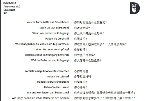 Chinesisch Übersetzungsliste